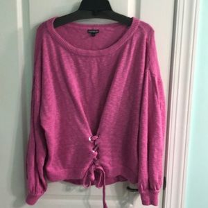 Express pink sweater tie front size M